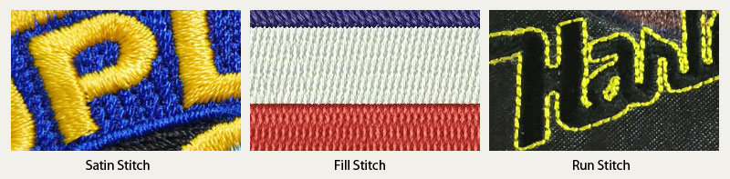 satin stitch, fill stitch, running stitch