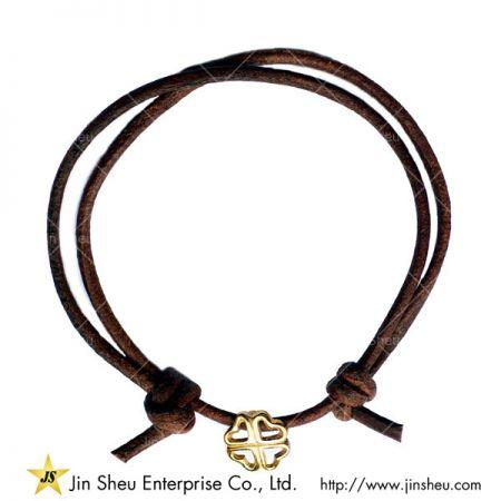 Braçadeira ajustável de cordão de couro